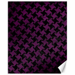Houndstooth2 Black Marble & Purple Leather Canvas 16  X 20   by trendistuff