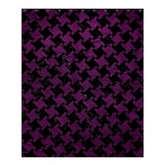 Houndstooth2 Black Marble & Purple Leather Shower Curtain 60  X 72  (medium)  by trendistuff