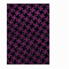 Houndstooth2 Black Marble & Purple Leather Large Garden Flag (two Sides) by trendistuff