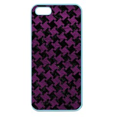 Houndstooth2 Black Marble & Purple Leather Apple Seamless Iphone 5 Case (color) by trendistuff