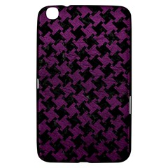 Houndstooth2 Black Marble & Purple Leather Samsung Galaxy Tab 3 (8 ) T3100 Hardshell Case  by trendistuff