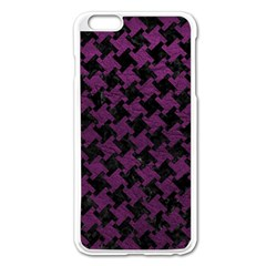 Houndstooth2 Black Marble & Purple Leather Apple Iphone 6 Plus/6s Plus Enamel White Case by trendistuff