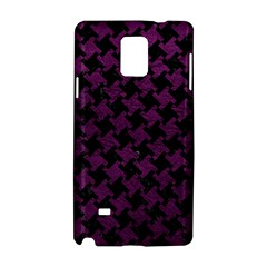 Houndstooth2 Black Marble & Purple Leather Samsung Galaxy Note 4 Hardshell Case by trendistuff