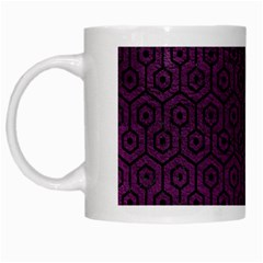 Hexagon1 Black Marble & Purple Leather White Mugs by trendistuff