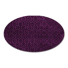 Hexagon1 Black Marble & Purple Leather Oval Magnet by trendistuff