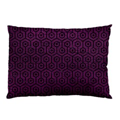 Hexagon1 Black Marble & Purple Leather Pillow Case (two Sides) by trendistuff