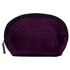 Hexagon1 Black Marble & Purple Leather Accessory Pouches (large)  by trendistuff
