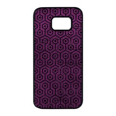 Hexagon1 Black Marble & Purple Leather Samsung Galaxy S7 Edge Black Seamless Case by trendistuff