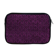 Hexagon1 Black Marble & Purple Leather Apple Macbook Pro 17  Zipper Case by trendistuff
