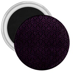 Hexagon1 Black Marble & Purple Leather (r) 3  Magnets by trendistuff