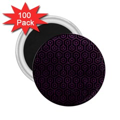 Hexagon1 Black Marble & Purple Leather (r) 2 25  Magnets (100 Pack)  by trendistuff