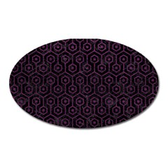 Hexagon1 Black Marble & Purple Leather (r) Oval Magnet by trendistuff