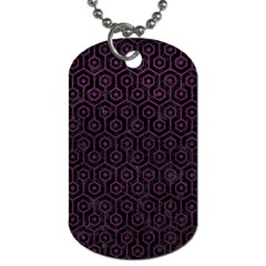 Hexagon1 Black Marble & Purple Leather (r) Dog Tag (one Side) by trendistuff