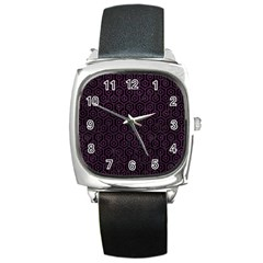 Hexagon1 Black Marble & Purple Leather (r) Square Metal Watch by trendistuff