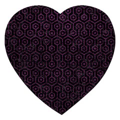 Hexagon1 Black Marble & Purple Leather (r) Jigsaw Puzzle (heart) by trendistuff