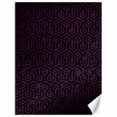 Hexagon1 Black Marble & Purple Leather (r) Canvas 18  X 24   by trendistuff