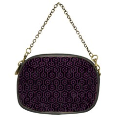 Hexagon1 Black Marble & Purple Leather (r) Chain Purses (one Side)