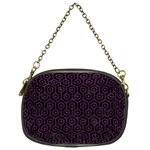 HEXAGON1 BLACK MARBLE & PURPLE LEATHER (R) Chain Purses (One Side)  Front