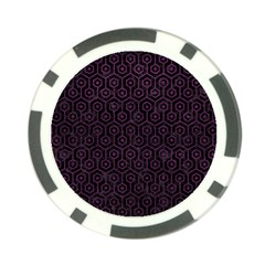Hexagon1 Black Marble & Purple Leather (r) Poker Chip Card Guard (10 Pack) by trendistuff
