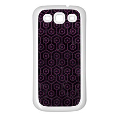 Hexagon1 Black Marble & Purple Leather (r) Samsung Galaxy S3 Back Case (white) by trendistuff