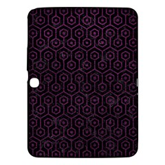 Hexagon1 Black Marble & Purple Leather (r) Samsung Galaxy Tab 3 (10 1 ) P5200 Hardshell Case  by trendistuff