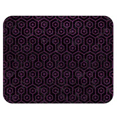 Hexagon1 Black Marble & Purple Leather (r) Double Sided Flano Blanket (medium)  by trendistuff