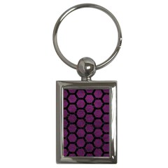 Hexagon2 Black Marble & Purple Leather Key Chains (rectangle)  by trendistuff