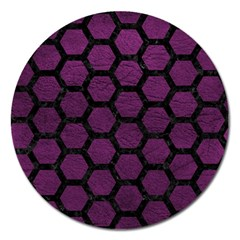 Hexagon2 Black Marble & Purple Leather Magnet 5  (round) by trendistuff