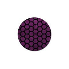Hexagon2 Black Marble & Purple Leather Golf Ball Marker (10 Pack) by trendistuff