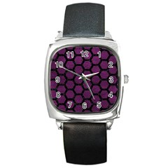 Hexagon2 Black Marble & Purple Leather Square Metal Watch by trendistuff