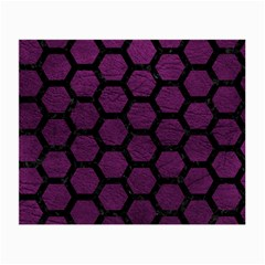 Hexagon2 Black Marble & Purple Leather Small Glasses Cloth by trendistuff