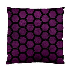 Hexagon2 Black Marble & Purple Leather Standard Cushion Case (one Side) by trendistuff