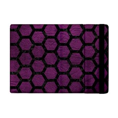 Hexagon2 Black Marble & Purple Leather Apple Ipad Mini Flip Case by trendistuff