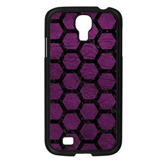 Hexagon2 Black Marble & Purple Leather Samsung Galaxy S4 I9500/ I9505 Case (black) by trendistuff