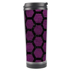 Hexagon2 Black Marble & Purple Leather Travel Tumbler by trendistuff
