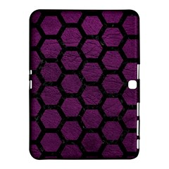 Hexagon2 Black Marble & Purple Leather Samsung Galaxy Tab 4 (10 1 ) Hardshell Case  by trendistuff