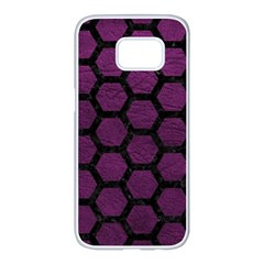 Hexagon2 Black Marble & Purple Leather Samsung Galaxy S7 Edge White Seamless Case by trendistuff