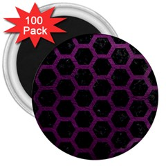 Hexagon2 Black Marble & Purple Leather (r) 3  Magnets (100 Pack) by trendistuff