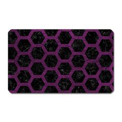 Hexagon2 Black Marble & Purple Leather (r) Magnet (rectangular) by trendistuff