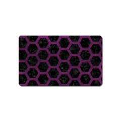 Hexagon2 Black Marble & Purple Leather (r) Magnet (name Card) by trendistuff