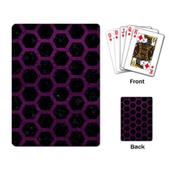 Hexagon2 Black Marble & Purple Leather (r) Playing Card by trendistuff