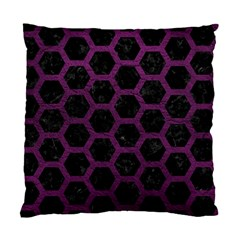 Hexagon2 Black Marble & Purple Leather (r) Standard Cushion Case (one Side) by trendistuff
