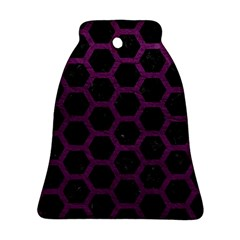Hexagon2 Black Marble & Purple Leather (r) Bell Ornament (two Sides) by trendistuff