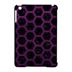 Hexagon2 Black Marble & Purple Leather (r) Apple Ipad Mini Hardshell Case (compatible With Smart Cover) by trendistuff