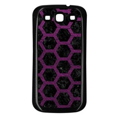 Hexagon2 Black Marble & Purple Leather (r) Samsung Galaxy S3 Back Case (black) by trendistuff