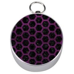 Hexagon2 Black Marble & Purple Leather (r) Silver Compasses by trendistuff