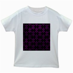 Puzzle1 Black Marble & Purple Leather Kids White T Shirts