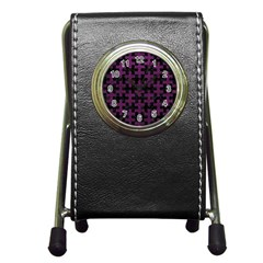 Puzzle1 Black Marble & Purple Leather Pen Holder Desk Clocks by trendistuff