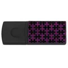 Puzzle1 Black Marble & Purple Leather Rectangular Usb Flash Drive by trendistuff