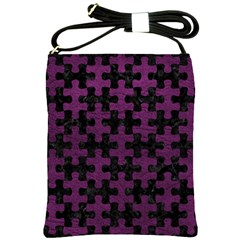 Puzzle1 Black Marble & Purple Leather Shoulder Sling Bags
